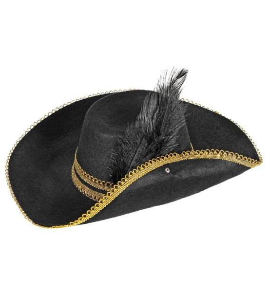 Adults Unisex Musketeer Hat Felt with Feather Warriors Knights Fancy Dress Hat